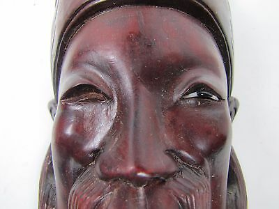 Old Carved Asian Dark Wood Hat Man Exquisite Detailing Eyes Teeth 10A 5