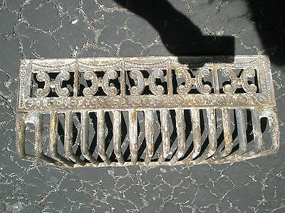 Antique Ornate Raised Relief Brass Gold Tone Metal Fireplace Surround Grate 6