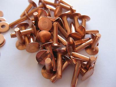 Copper hose saddlers rivets 10 Gauge x 1/2 with washers leather belt bag crafts 3