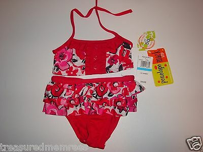 951a7e93f2 ... 2 Piece Red Floral Penelope Mack Ruffle Skirt Swimsuit ~ Size 18 Months  ~ NWT 2
