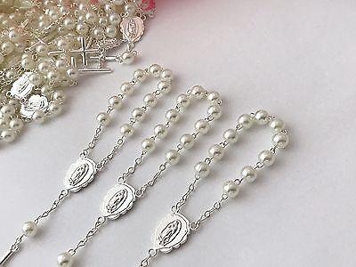 36 Mini Rosary Ivory Color//baptism Favors Communion Favors//Recuerdos De Bautizo