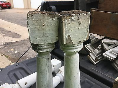 """c1900 Victorian chunky porch baluster spindles set of 4 - 18 1/8"""" x 2 7/8"""" sq 2"""