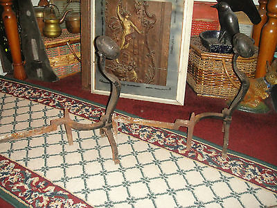 Antique Peerless Andirons-Cast Iron-3521-Resembles Rooster Running-Pair-LQQK 5