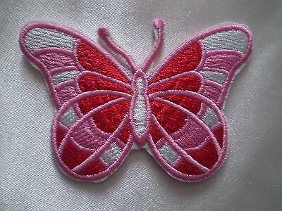 NEW100% EMBROIDERED IRON ON DEVINE BUTTERFLY FLOWER MOTIF PATCH APPLIQUE 8x5.5cm