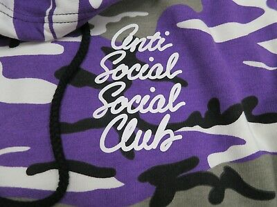 DS Anti Social Social Club ASSC white logo Options Purple Camo Hoodie in hand