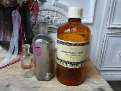 Konvolut alte Apotheker Sachen Tiegel & 3 Flaschen alte Merck antik Glas Flasche 2