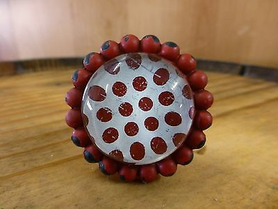 8 RED SUN FLOWER GLASS DRAWER CABINET PULLS KNOBS VINTAGE chic garden hardware 6