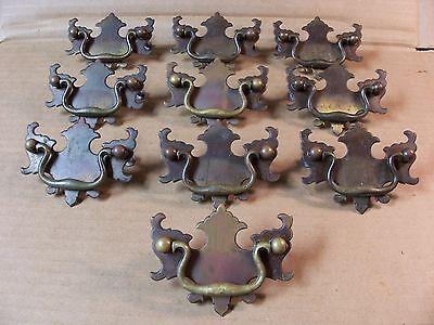 (10) Antique Brass Drawer Pulls / Handles -- Solid Brass -- W/ Original Screws 2