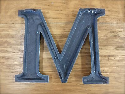 "BLUE CAST IRON WALL LETTER ""M"" 6.5"" TALL rustic vintage decor sign child nursery 4"