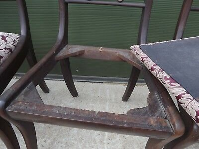 Set of 4 Antique Regency Mahogany Dining Chairs, One Carver, Need Restoration 11