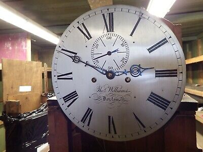Thomas WILLIAMS OF DOWLAIS 8 DAY SILVERED DIAL WITH FIGURED MAHOGANY CASE 3