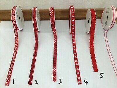 Decorative Ribbon Christmas Ribbon Various Selection  Sold by the metre Red 2
