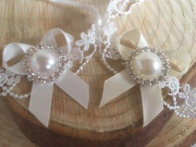 Baby Girl Ivory Christening Headband Baptism Wedding Lace Pearl Hairband Bow 7