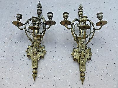 Large Imposing French 19Th C  Napoleon 3Rd  Bronze Sconces With Faces