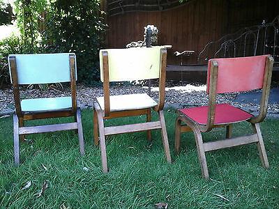 RARE COLLECTORS~ 1x Antique Vintage Wooden Child School Desk Chair (3 available) 3