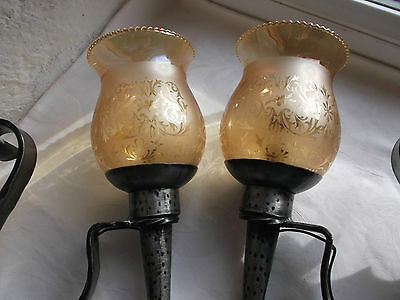 French a pair of wall light  solid wrought iron glass shades nicely detailed 6 • CAD $162.21