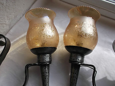 French a pair of wall light  solid wrought iron glass shades nicely detailed 6
