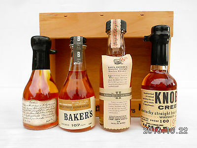 Jim Beam Small Batch Miniature Set In Timber Cabinet -Features Round Knob Creek! 6