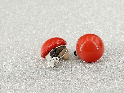 Boucles d'oreilles CLIP ON Argenté Demi Perle Rouge Orange Leger Retro J13 4