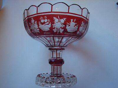 antiker Andenken-Tafelaufsatz,  rot gebeizt, original Biedermeier 3
