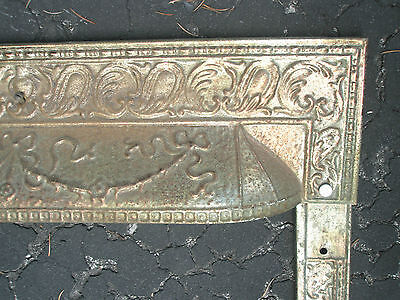Antique Ornate Raised Relief Brass Gold Tone Metal Fireplace Surround Grate 2