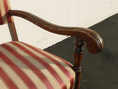 Antique Red & White Striped Silk Accent Arm Chair Floral Design Carved Wood 7