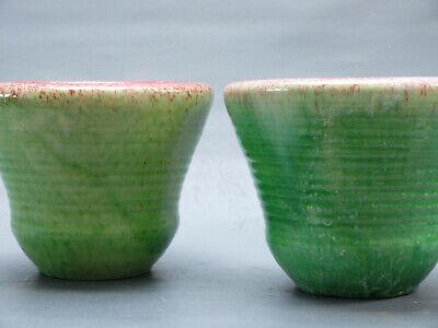 Accolay 1950 Paire Cache Pot Vintage Vert Faience Vase Ceramique Blin Capron Era 2