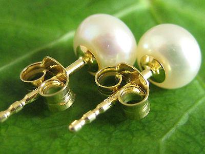 Ohrstecker 585 Gold Ohrringe 7-7.5 mm Ø Süßwasserzucht Perle Bouton 14