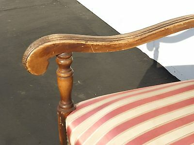 Antique Red & White Striped Silk Accent Arm Chair Floral Design Carved Wood 8