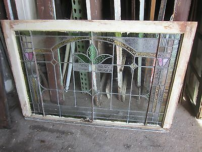 ~ Antique American Stained Glass Window Arts & Crafts ~ Architectural Salvage ~ 10