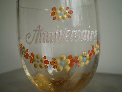 """Vaso Esmalte Antiguo Cumpleaños"""" Deco Souvenir Vintage Glass Arte Mesa 3"""