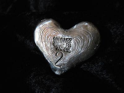 "2 TR/OZ MK BARZ ""I LOVE YOU"" HEART.999 Fine Silver HAND POURED 5"