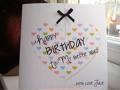 Handmade Personalised Hanging Heart Bestie Birthday Card Female BFF Best Friend 2