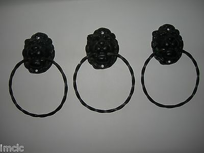 Set of 3 Vintage~Cast Iron LION HEADS~MGM Style~Knockers 10