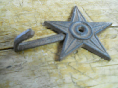 6 Cast Iron STAR Coat Hooks Hat Hook Towel Rack Western Cowboy  Rustic Decor