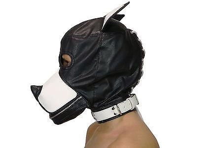 Petplay Hundemaske mit Knebel schwarz weiß Hunde Maske Hund Ledermaske ArNr.2777 3