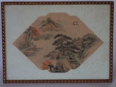 Rare Antique Chinese Fan Original Painting on Silk Fantastic Country Landscape 3