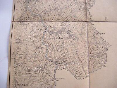 alte Landkarte Messtischblatt Sachsen Nr.120 Fürstenwalde von 1905 auf Leinen