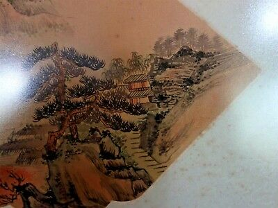Rare Antique Chinese Fan Original Painting on Silk Fantastic Country Landscape 7