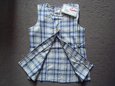 Kids Girl Sophia Blue/navy Check Linen Waistcoat Smock Top 10-14 Years,cotton 5