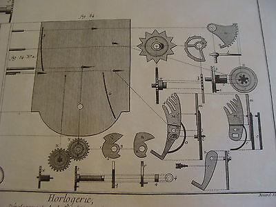 """Original engraving 1760's 10 1/2 x 16"""" DEVELOPEMENT DE LA REPETITION ORDINAIRE 3"""