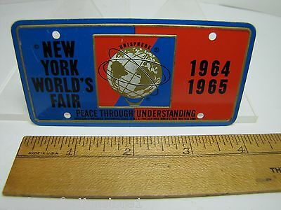 1964-65 New York World's Fair UNISPHERE Bicycle Lic Plate NYWF raised UniSphere 11