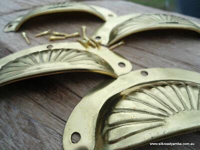 "8 shell handles PULL polished Brass PULL  knob kitchen  pressed 4"" screws B 6"
