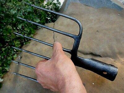 True Antique Handmade Carbon Steel Harpoon Spear Hunting Fishing Eel 5 Tines 12