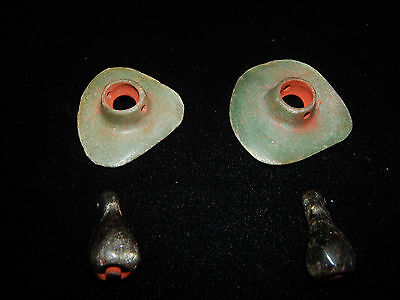 Mayan Warrior Ear Spools, Jade, Obsidian and Cinnabar, Authentic, Pre-Columbian 5