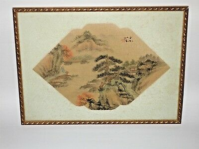 Rare Antique Chinese Fan Original Painting on Silk Fantastic Country Landscape 4