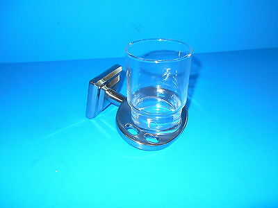 *Fontana Tooth Brush And Cup Holder With Glass Cup Satin Nickel 2
