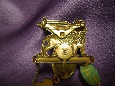 Egyptian Revival Scarab Sphinx W/ Chain Vintage Brooch Pin 8