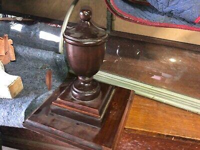 "circa 1920 pine newel post finial urn style 13"" h x 5"" dia x 11.25"" sq base 7"