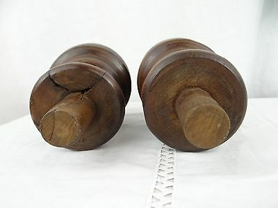 French Antique Architectural Decorative Wood Pair of Curtain-Rod Bed Finials 6